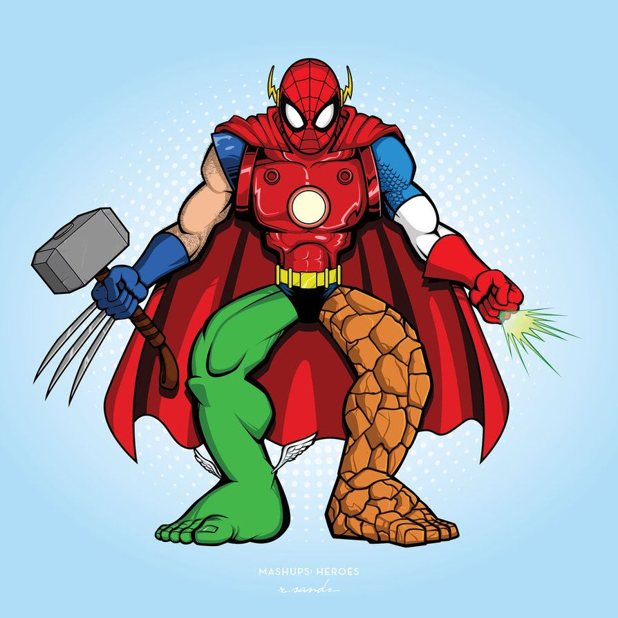#Spiderman #Fan #Art. (Spidy-Mashup-Heroes) By: RSands21. (THE * 5 * STÅR * ÅWARD * OF * MAJOR ÅWESOMENESS!!!™)