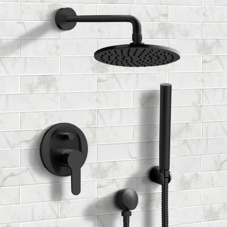 Matte Black Shower System With 8 Rain Shower Head And Hand Shower