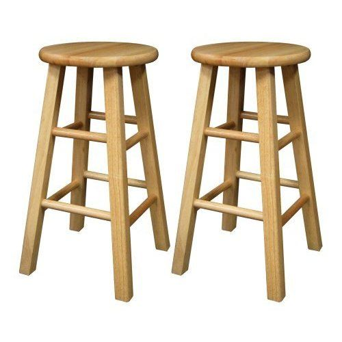 Pleasant Set Of 2 Square Leg 24 Inch Stool Assembled Beech Tan Machost Co Dining Chair Design Ideas Machostcouk