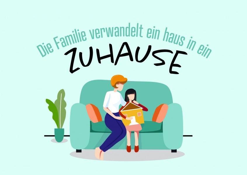 Die Familie Verwandelt Ein Haus In Ein Zuhause Ermutigungskarten