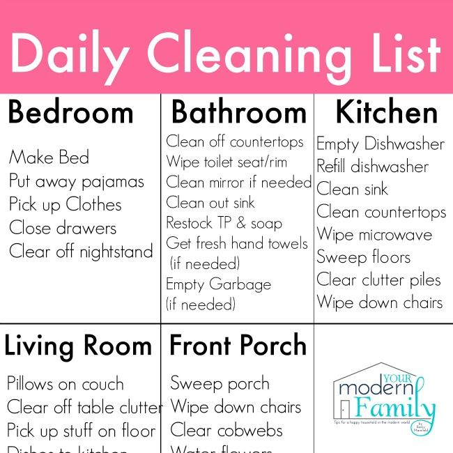 Daily Cleaning List To Clean Every Room Free Printable
