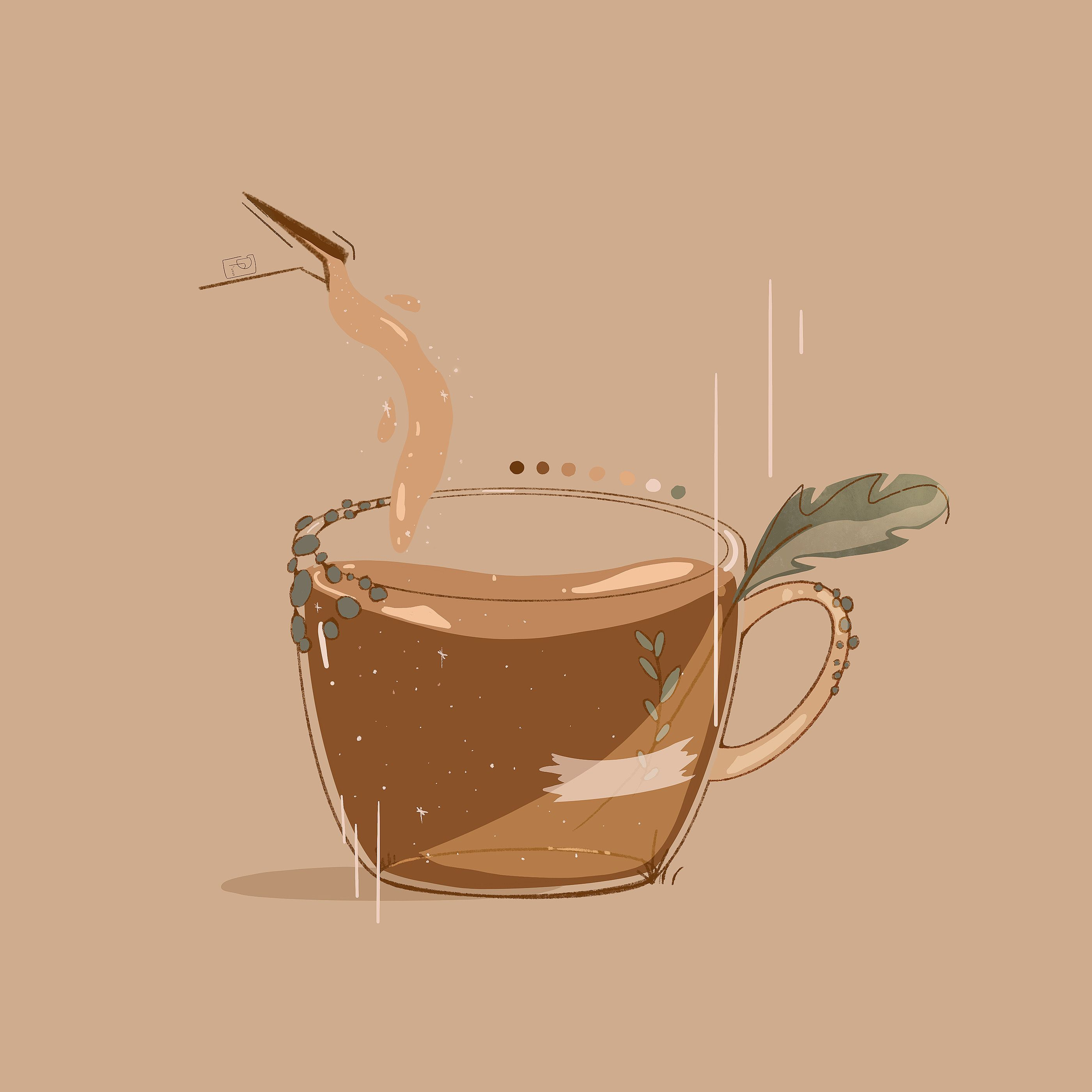 Coffee Moss Sticker By Danyel Poindexter Cute Patterns Wallpaper Cute Art Kawaii Drawings