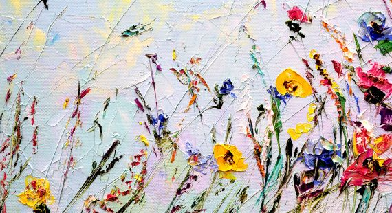 Flower · abstract flower painting custom oil painting flowers palette knife painting on canvas living room wall art