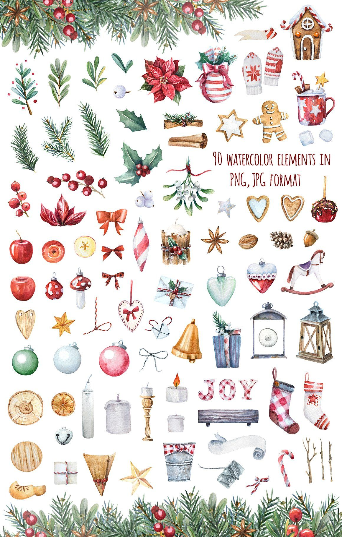 Photo of Watercolor Christmas set by PetiteZi on Creative Market