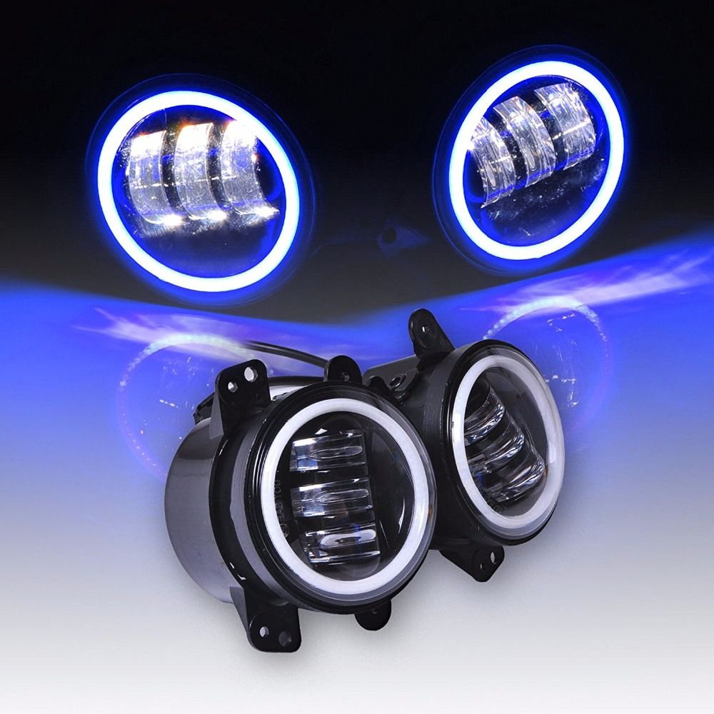 4 Inch 60w Led Fog Lights White Drl Blue Turn Signal Halo Ring