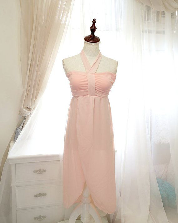 0474234e72 SALE - Miss Greek Dress - Cacoon baby pink chiffon halter beach dress,summer  dress,boho maxi dress
