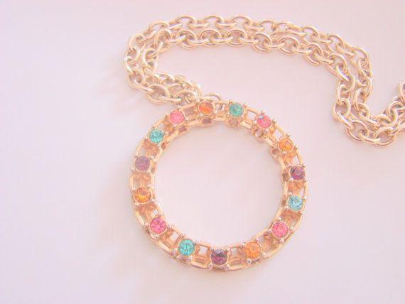 Vintage sarah coventry pendant necklace multi color rhinestones vintage sarah coventry pendant necklace multi color rhinestones jewelry jewellery aloadofball Images