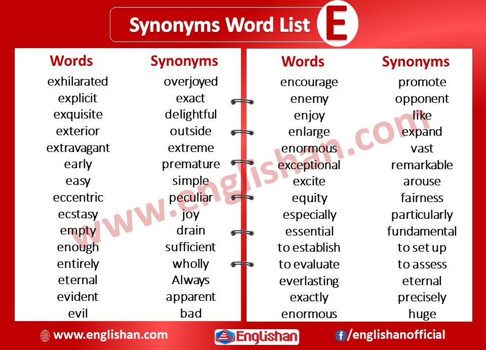 Synonyms Word List E Synonyms List A To Z Word List Synonym Words