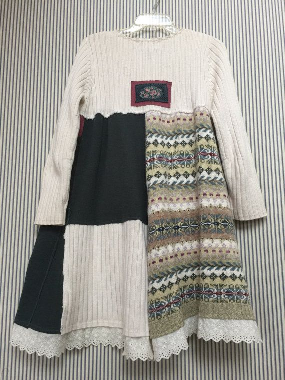 Upcycled Thick Warm 100% Cotton Ralph Lauren Rib Knit Sweater Dress, Patchwork Fair Isle Sweater, Pine Green , Pink mauve and Winter white, with hints of Aqua blue and light Lavender. I added some vintage eyelet Lace trim to the bottom Hemline. Size Small 20 across armpit to armpit 33 long Adorable with leggings or jeans and boots