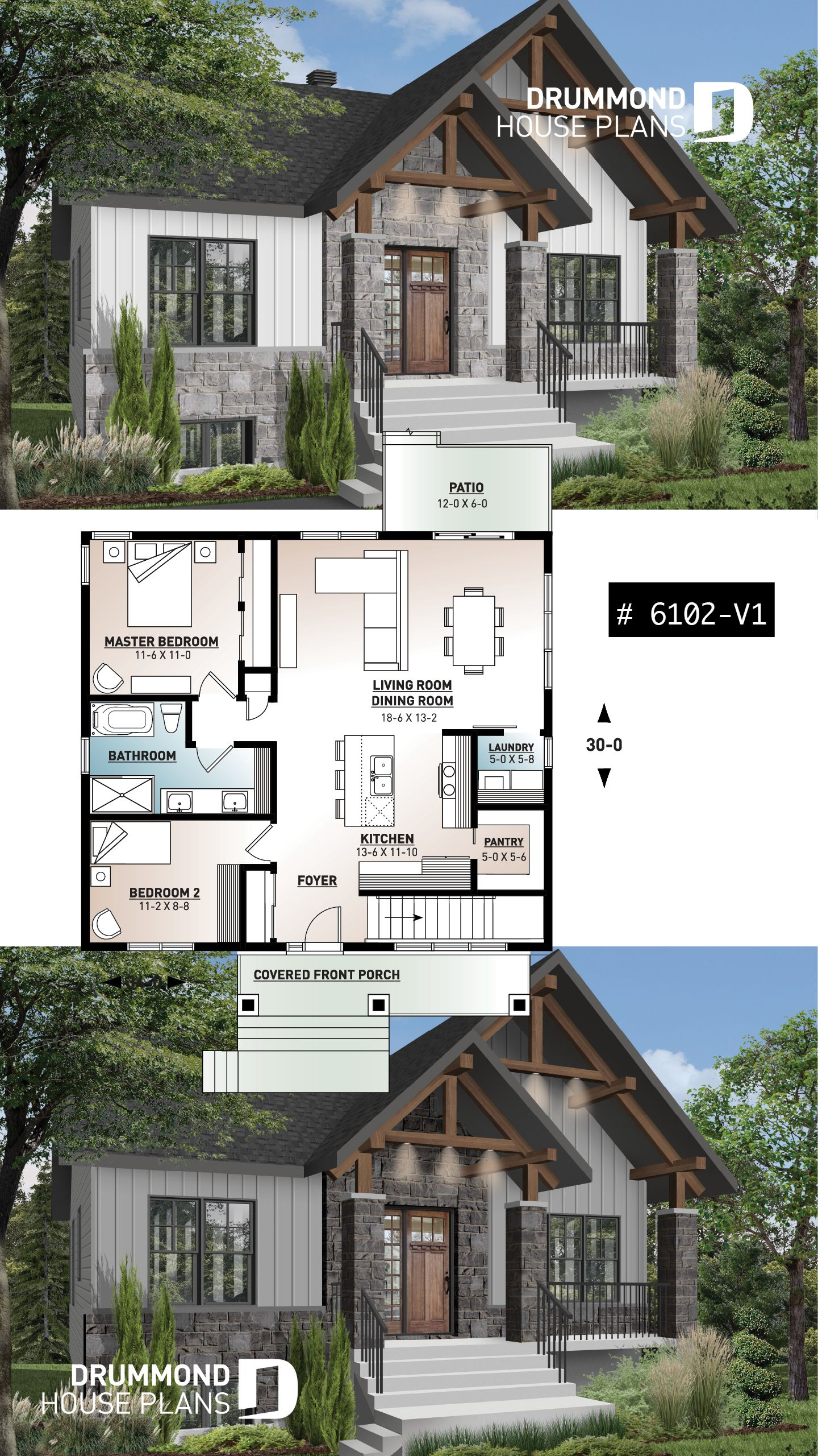 Discover The Plan 6102 V1 Nordika 2 Which Will Please You For Its 2 Bedrooms And For Its Craftsman Northwest Styles Craftsman Style House Plans Small Craftsman Style House Plans Craftsman House Plans
