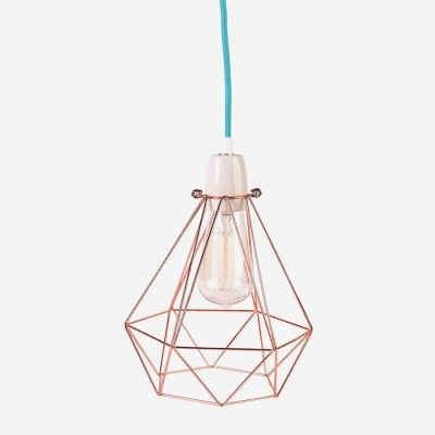 "Minimalistický luster Filament Style ""Diamond"" #1, béžové tienidlo, modrý kábel"