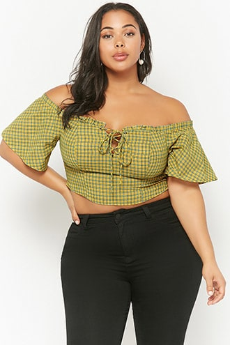 5fe28d953edd19 Plus Size Plaid Lace-Up Off-the-Shoulder Crop Top