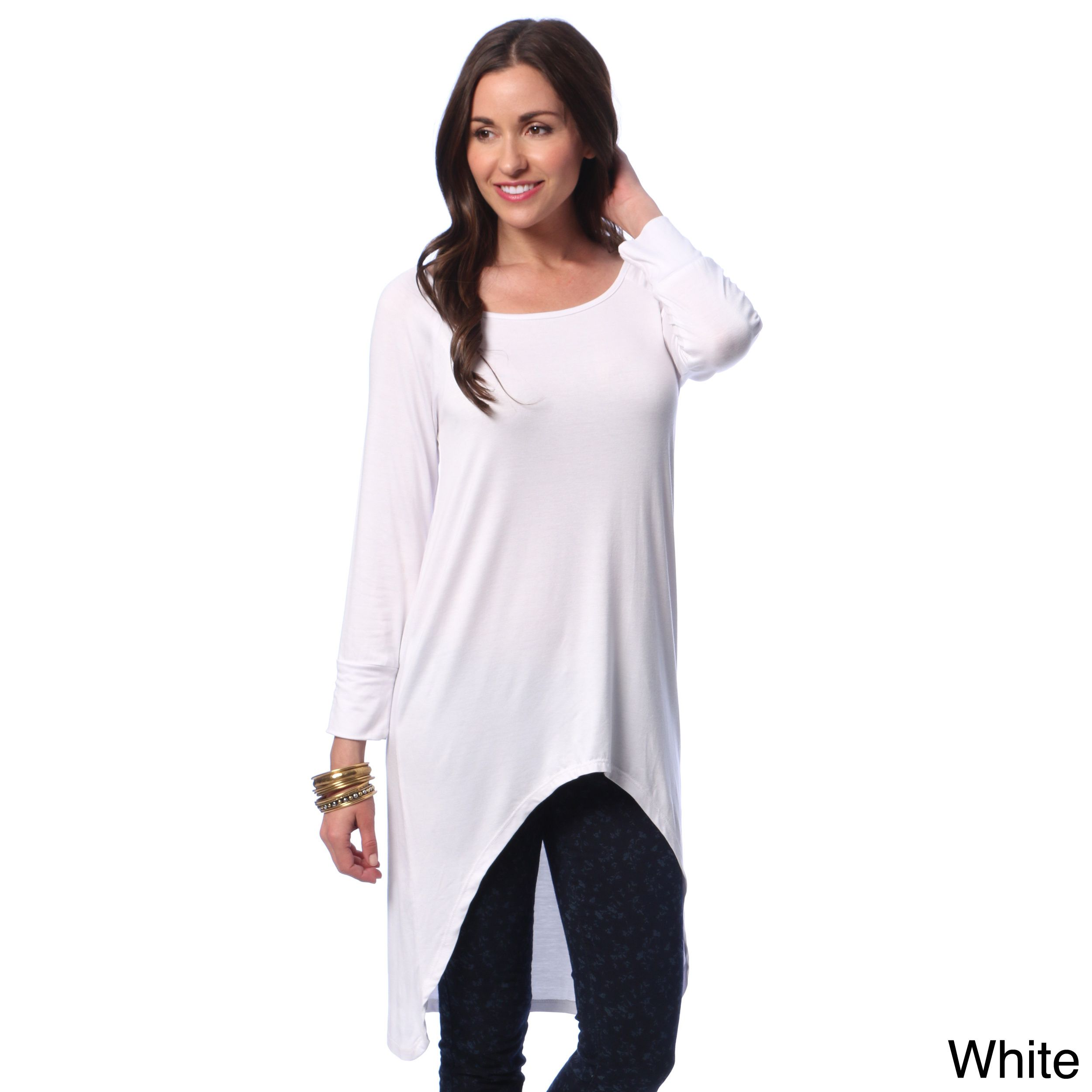 24/7 Comfort Apparel Women's High-low Long Sleeve Tunic Top by 24 ...
