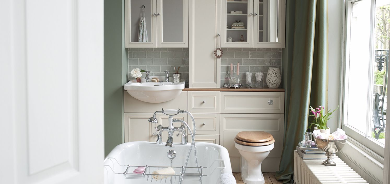 Heritage Clic Bathroom Furniture In An Oyster Finish