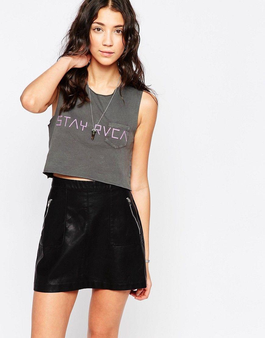 Seje RVCA Stay RVCA Crop Top - Shale RVCA Tøj til Damer i behagelige materialer