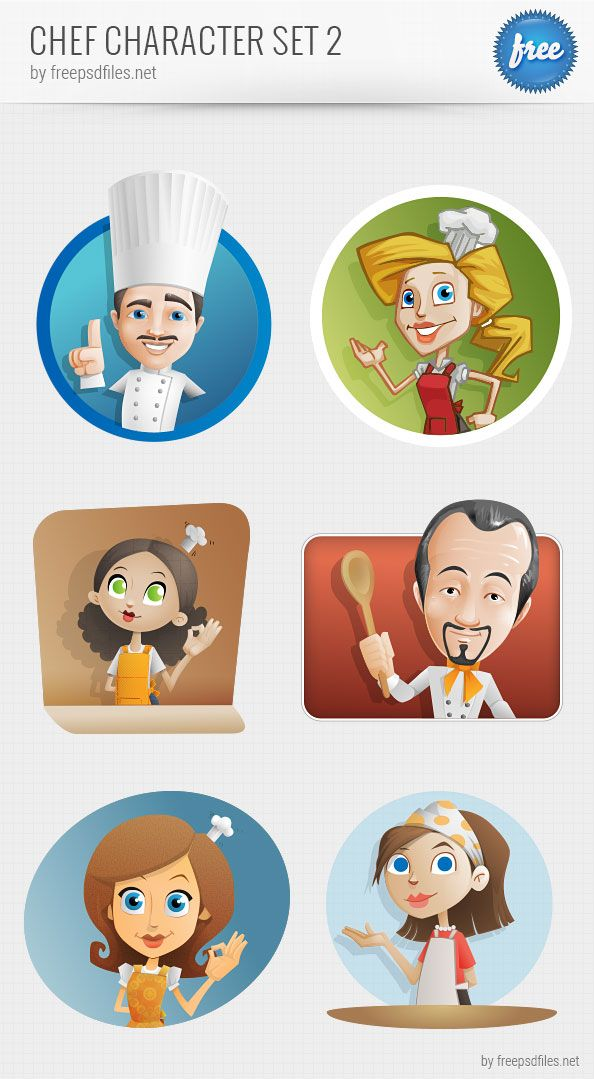 Chef vector character set containing 6 awesome illustrations  No