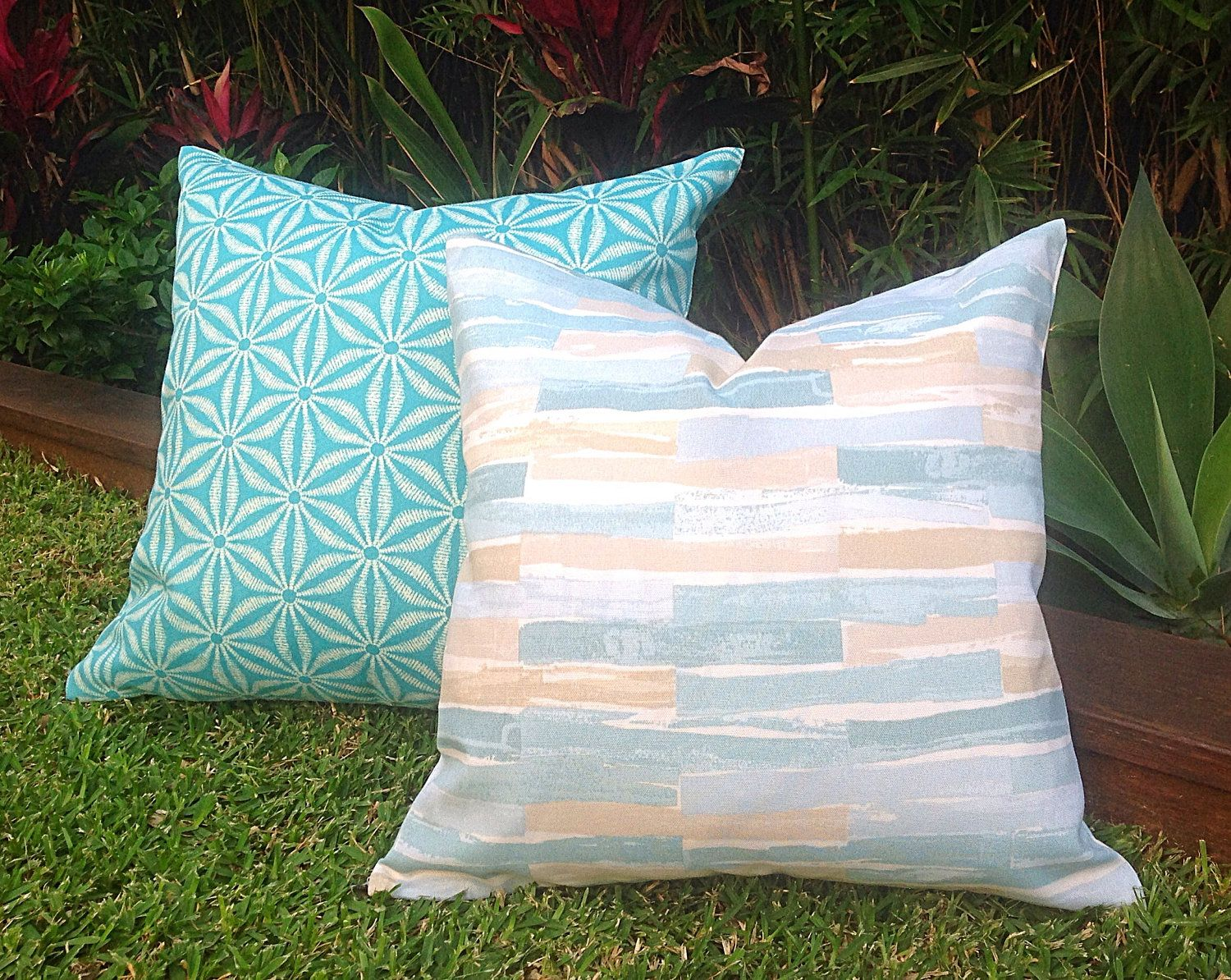 Coastal Outdoor Cushions Outdoor Pillow Cover Only Seafoam Beach