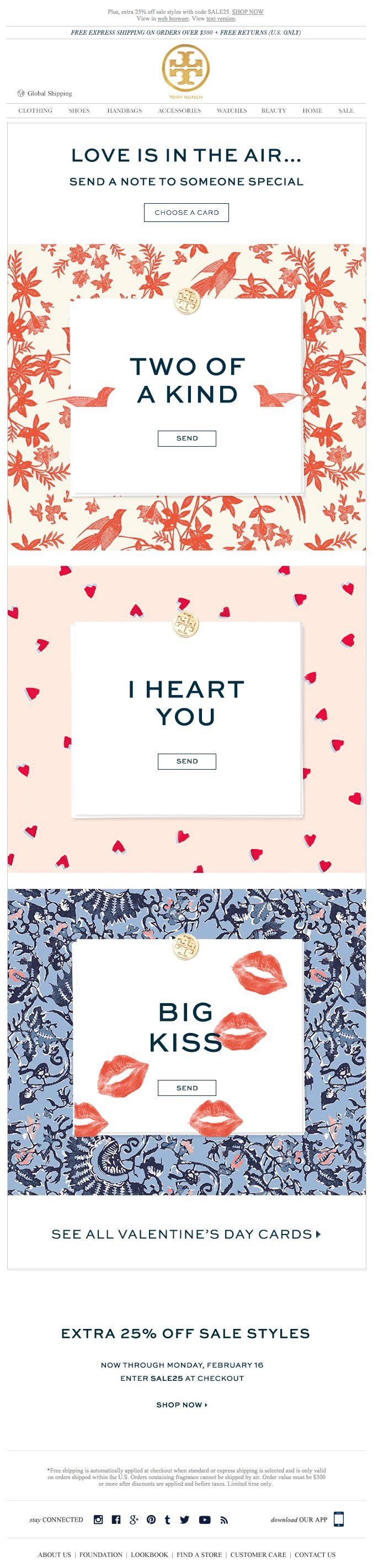 Tory Burch Valentine's Day email 2015