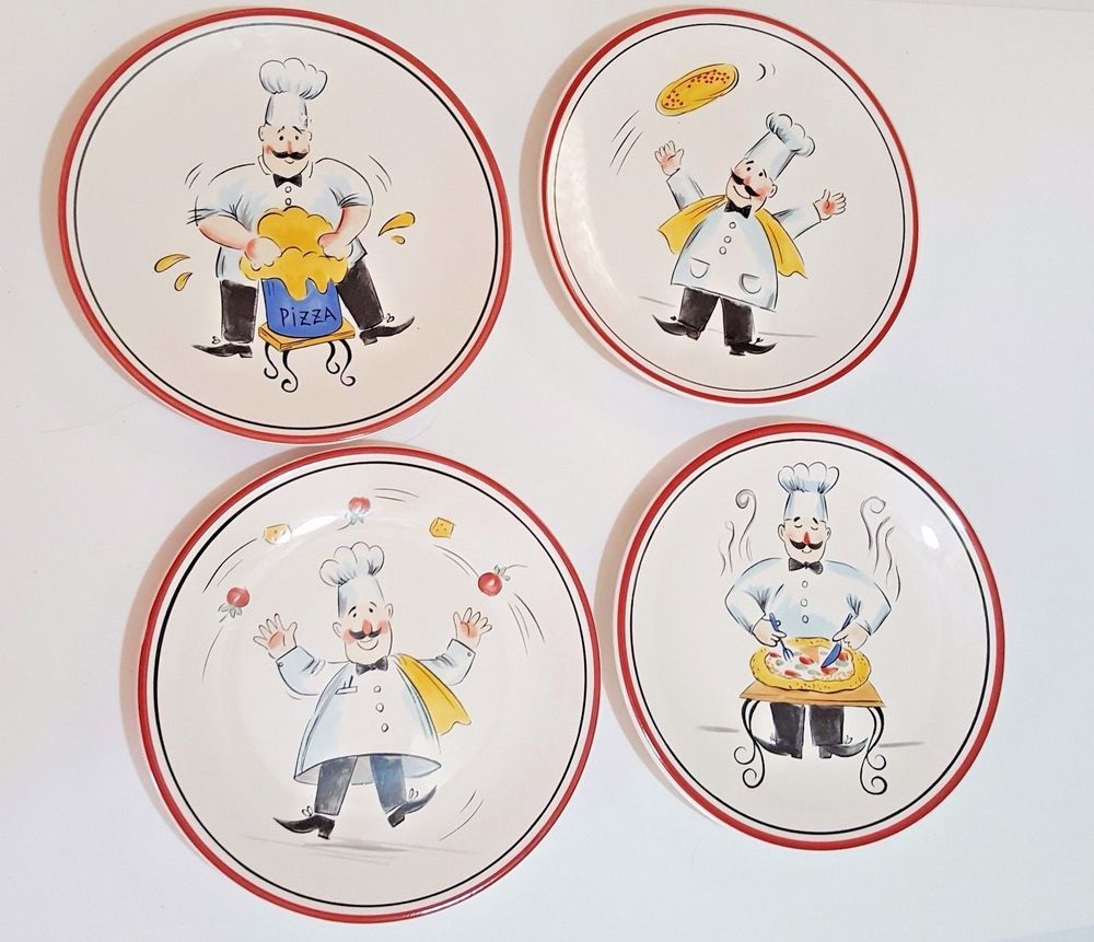 Pizza Chef Dinner Plates Set Of 4 Tabletops Lifestyles Hand Painted Hand Crafted & Pizza Chef Dinner Plates Set Of 4 Tabletops Lifestyles Hand Painted ...
