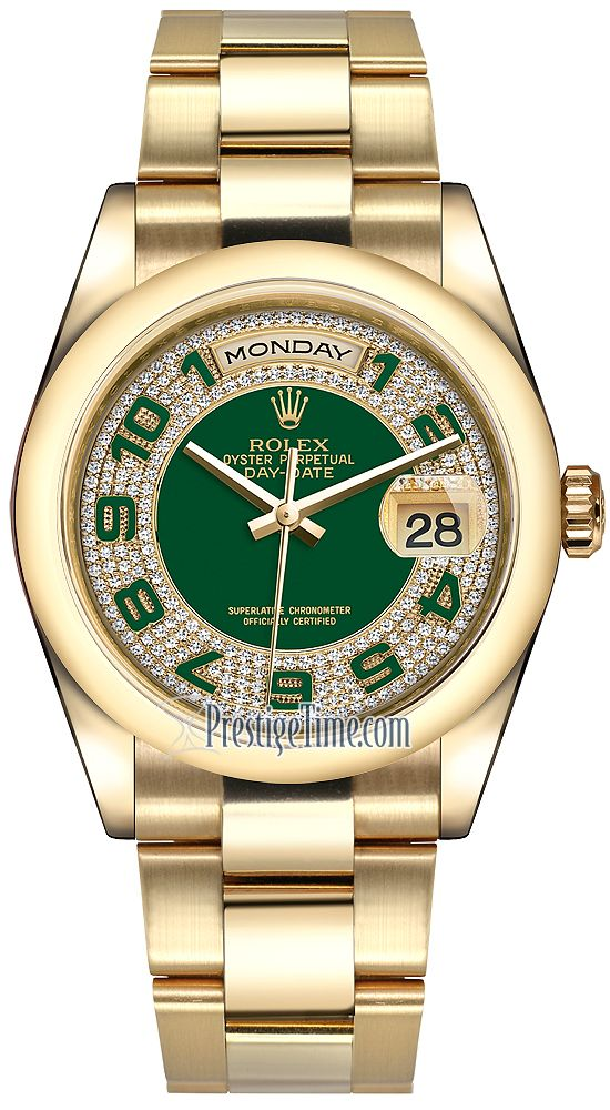 583d4af5ae0 Rolex Day-Date 36mm Yellow Gold Domed Bezel 118208 Green Pave Diamond  Arabic Oyster