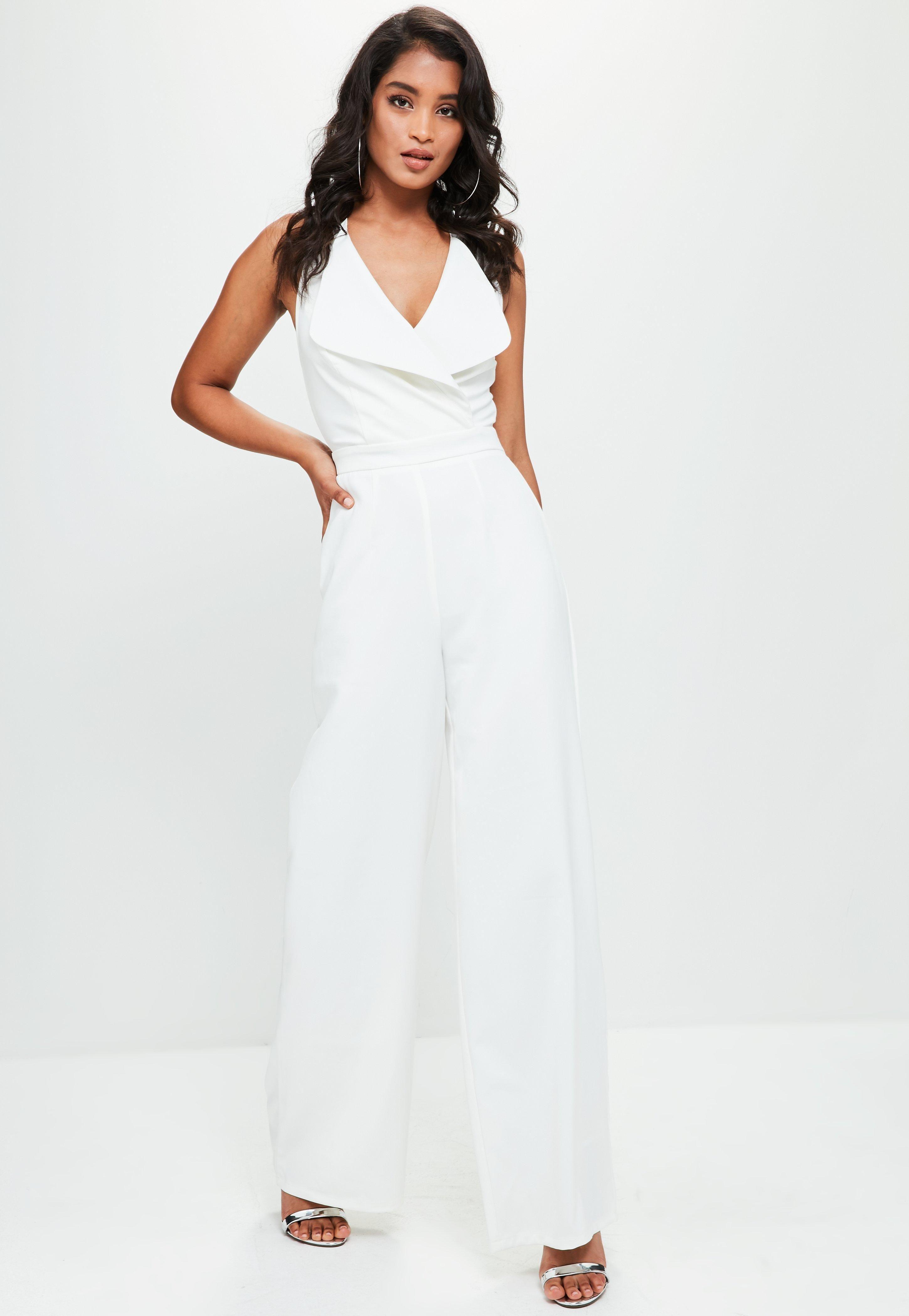 907e4bf0d51 White Bandeau Wide Leg Jumpsuit - This tailored jumpsuit features a large  lapel