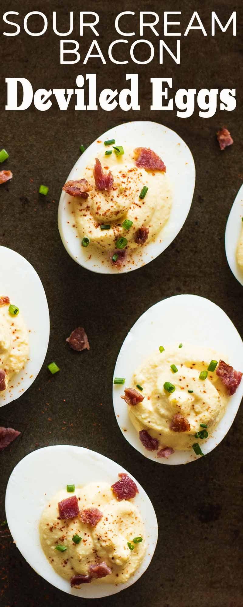 Sour Cream And Bacon Deviled Eggs Recipe Simplyrecipes Com Recipe Bacon Deviled Eggs Deviled Eggs Deviled Eggs Recipe