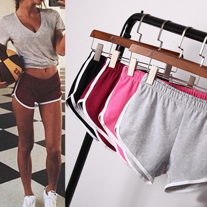 Women 2 In 1 Running Shorts Elastic Waist Summer Beach Casual  Gym Hot Pants