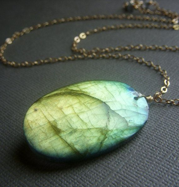 Fiery Labradorite Necklace on Goldfill  Large by beadstylin