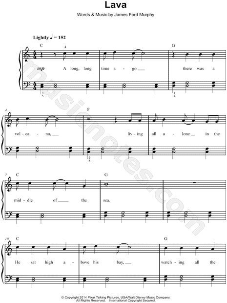 Lava From Lava Pixar Short Sheet Music Easy Piano
