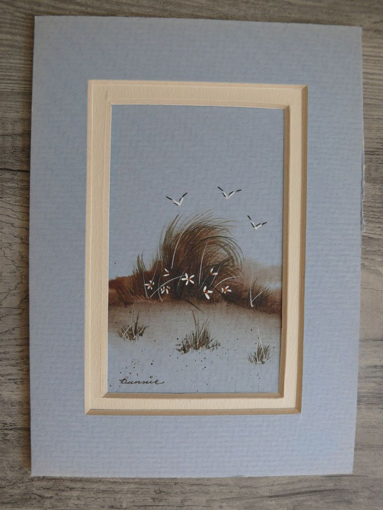 Small Painting Beach Scene Flowers & Seagulls Artist Signed Seascape With Mat