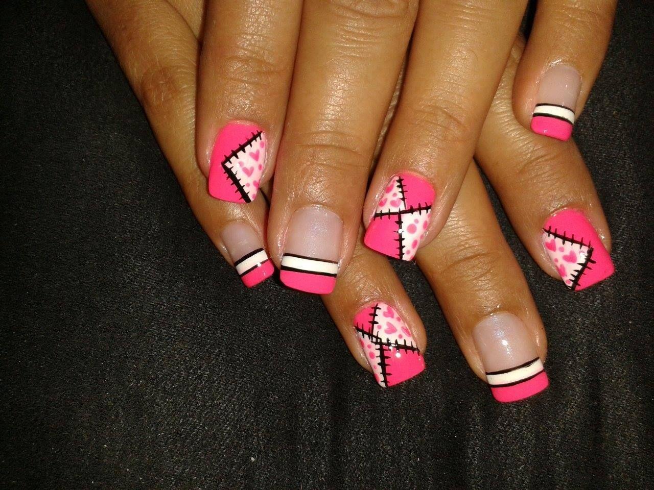 U as decoradas u as fucsia nailart pink u as bonitas patchwork nailart pinterest f e - Unas bonitas decoradas ...
