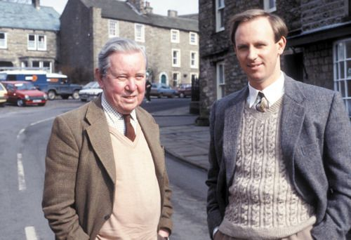 Brian Sinclair, the real-life model for Tristan Farnon, with Peter Davison, who played Tristan on All Creatures Great and Small.