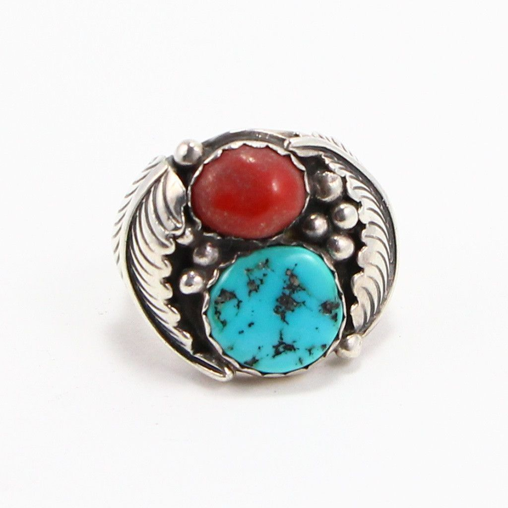 NAVAJO TURQUOISE & CORAL FEATHER RING - SIZE 11