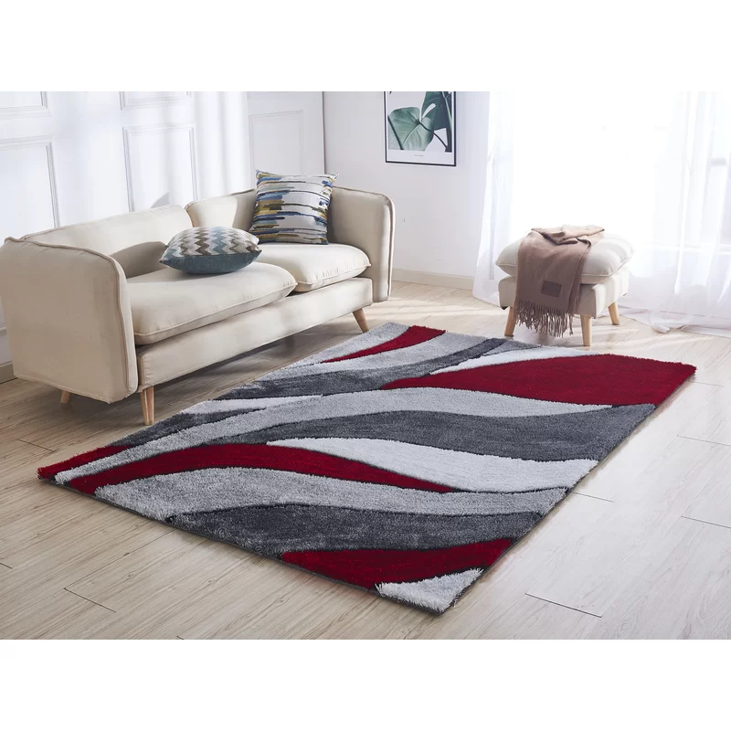 Neligh Soft Pile Shaggy Hand Tufted Red Gray Area Rug In 2020