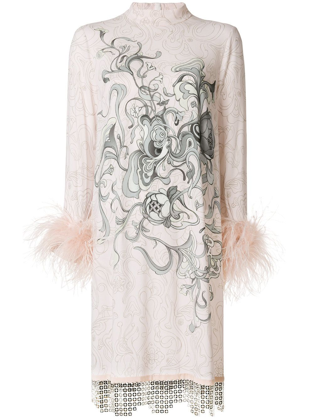 Prada printed feathercuff dress feathers and printing