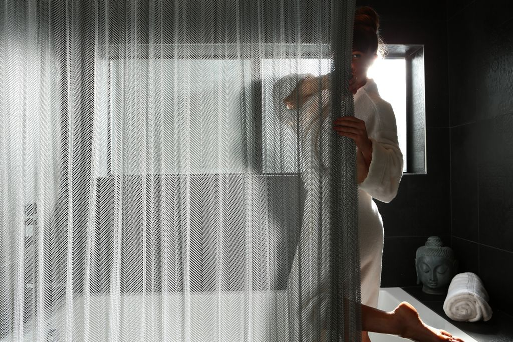 Cascade Coil Shower Curtains Provide Privacy And A Creative Alternative To The Ubiquitous Glass Door Or Plastic Curtain