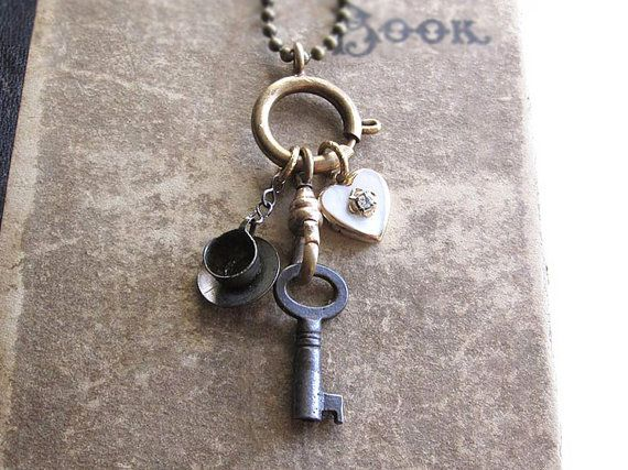 Charm Holder Necklace / Alice in Wonderland / Vintage Key / Heart Locket / Assemblage Necklace / Vintage Repurposed Jewelry / Under 50 on Etsy, $42.00