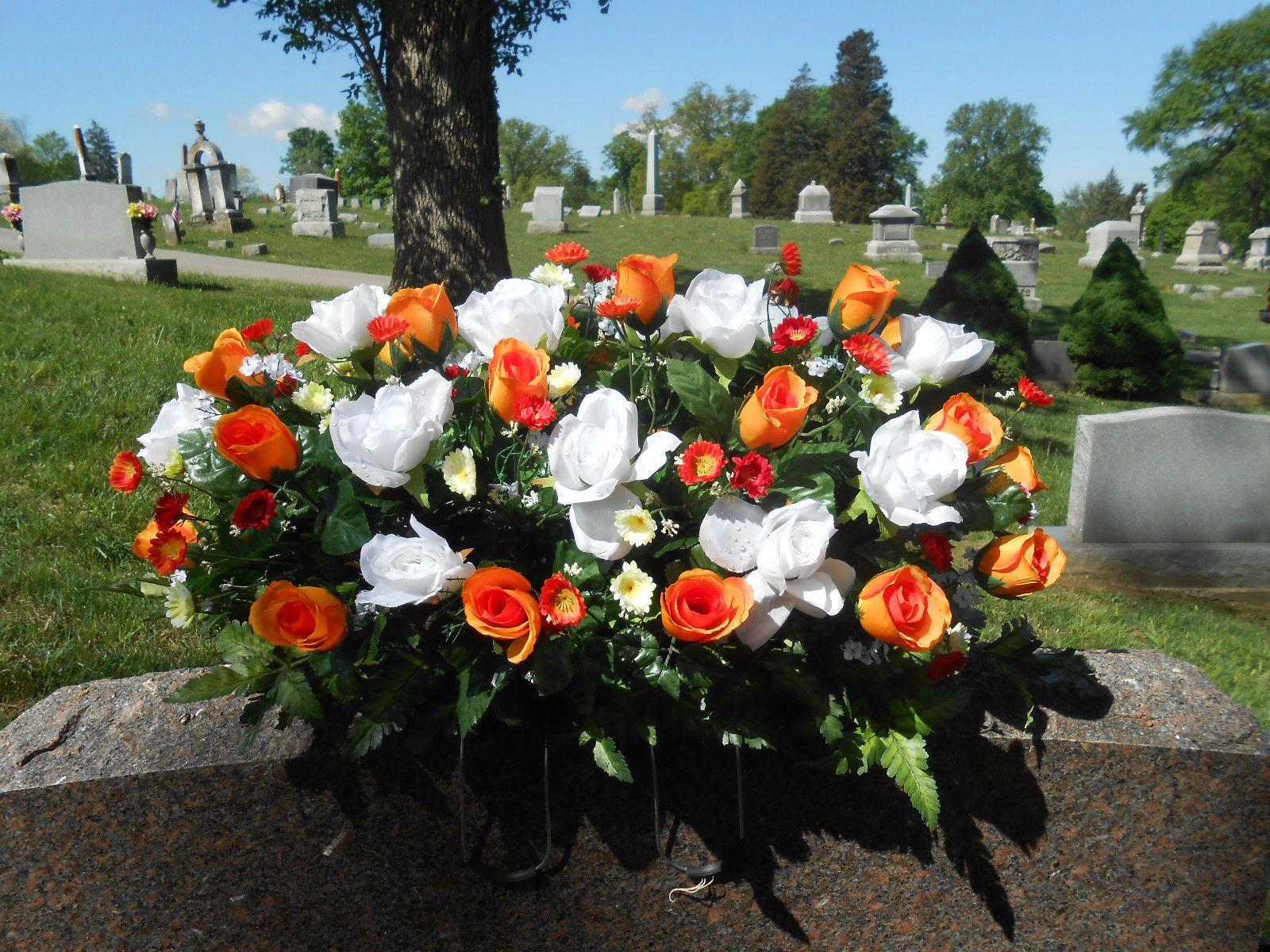 Cemetery silk flower headstone tombstone memorial saddle grave cemetery silk flower headstone tombstone memorial saddle grave orange and white picclick mightylinksfo Choice Image