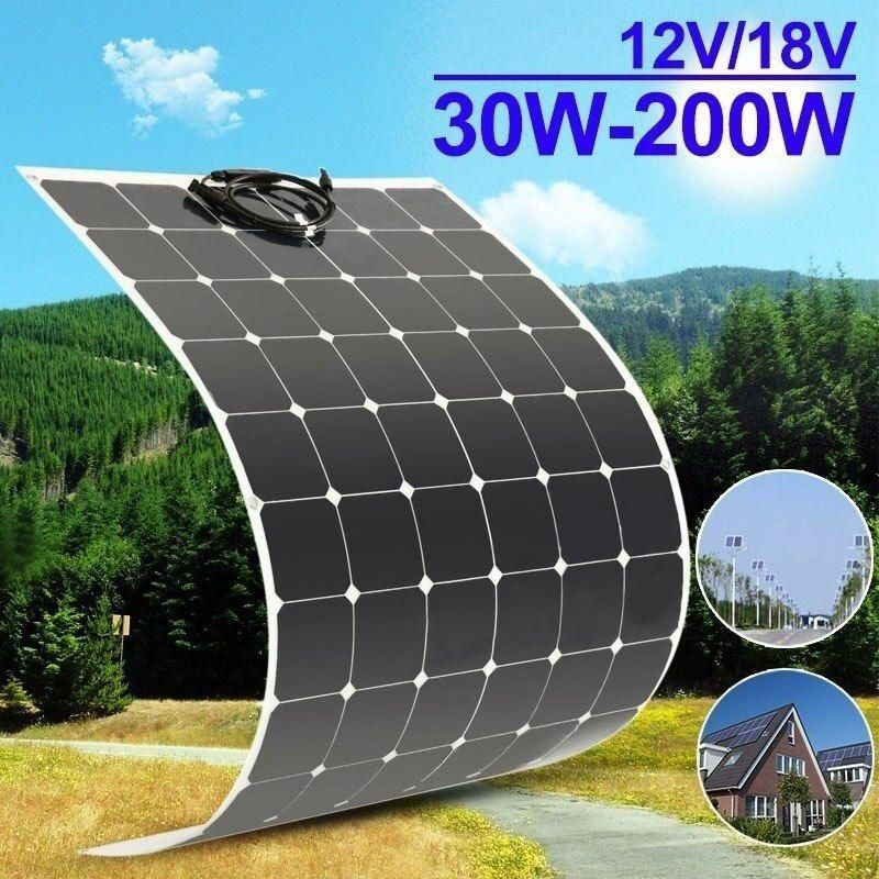 30w 50w 80w 100w 120w 200w 12v 18v Waterproof Monocrystalline Solar Cells Semi Flexible Solar Panel Water Resistant Solar Module Solarpane Flexible Solar Panels