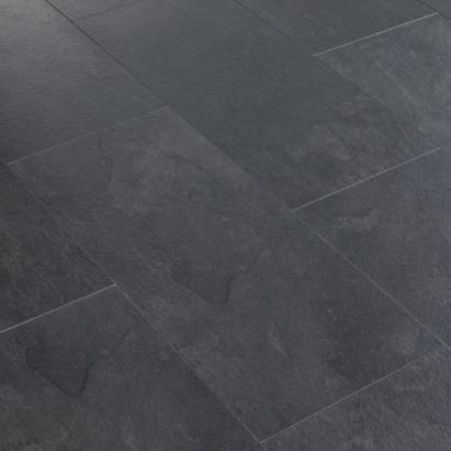 Colours Harmonia Black Slate Tile Effect Laminate Flooring 2 05 Sq M Pack Departments Diy Black Laminate Flooring Grey Laminate Flooring Black Slate Floor