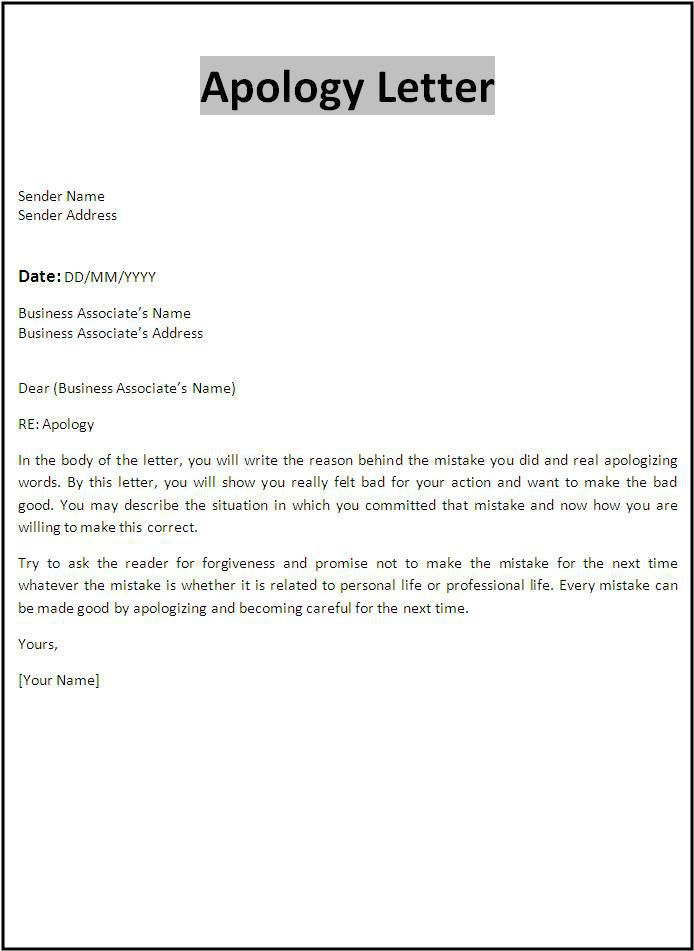 Apology Letter Customer For Mistake Doc Formal Business  Home