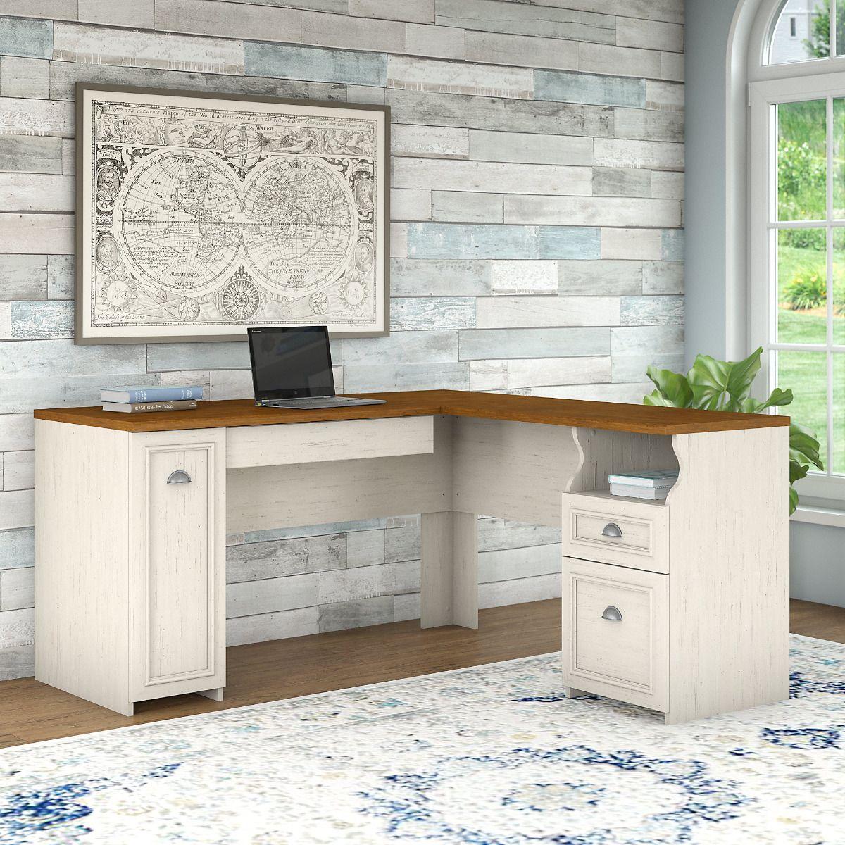 Fairview l desk in antique whitetea maple bush