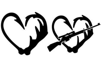 Fishing Hook and Antler Heart Decal Hook and by