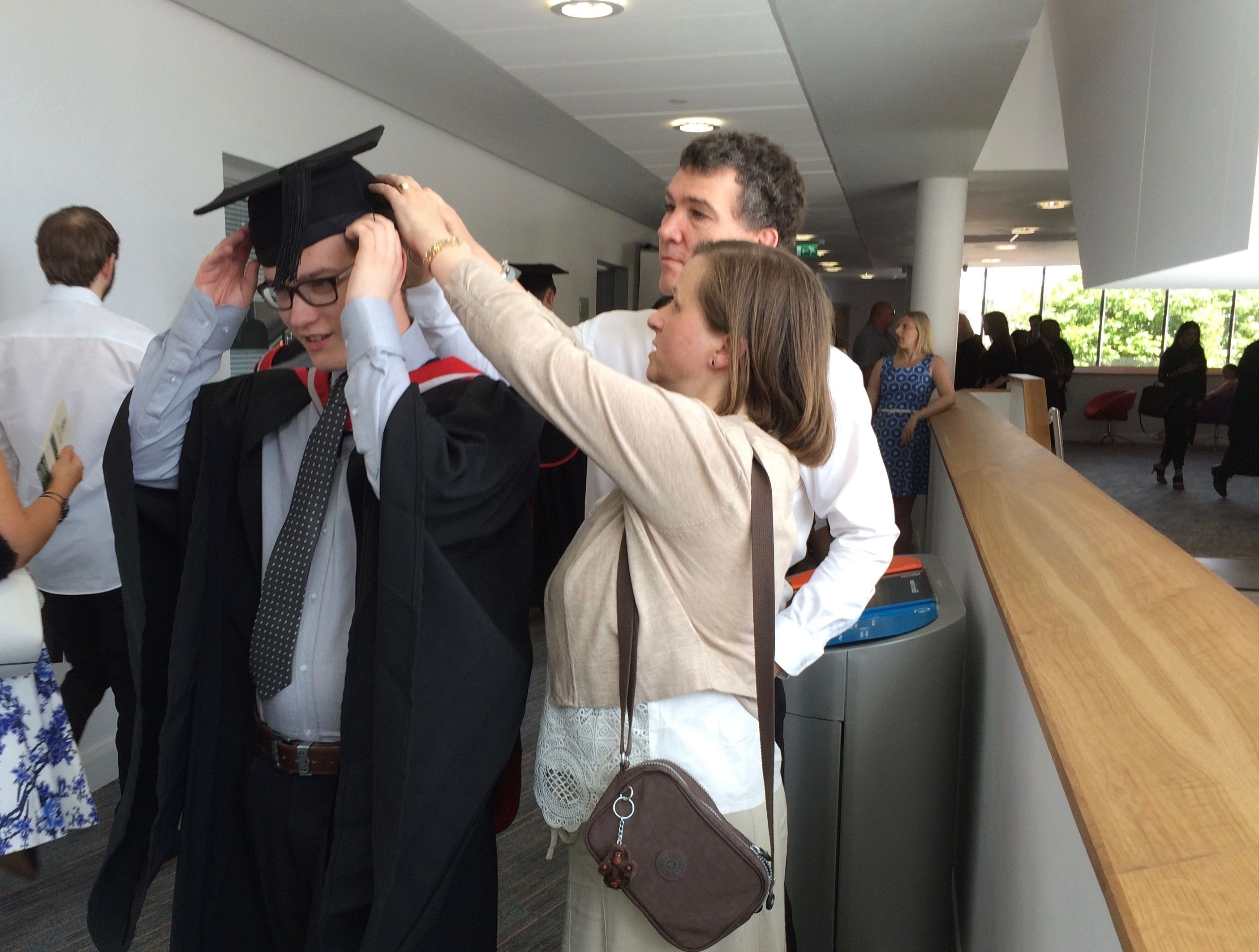 Last minute alterations to Teesside University graduation gown ...