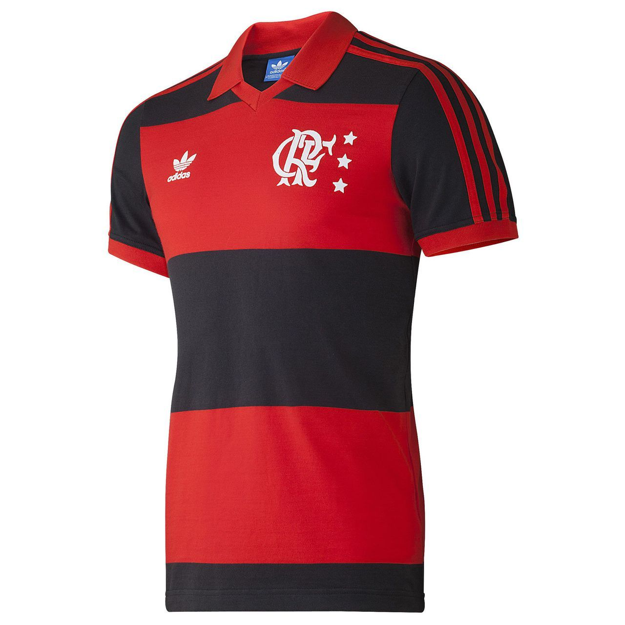 Adidas Flamengo 80s Retro Football Shirt - Red   Black  a2d02699a5783