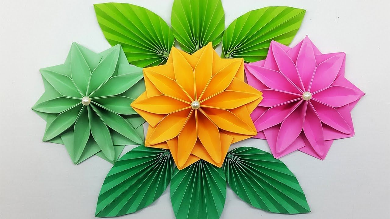 Easy Paper Flowers  DIY Paper Flower making for Wall Hanging