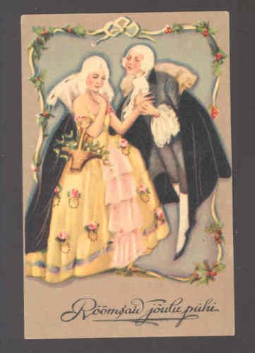 CHIOSTRI-GALLANT-MAN-ASKS-SHY-LADY-TO-DANCE-AT-CHRISTMAS-ART-DECO-POSTCARD