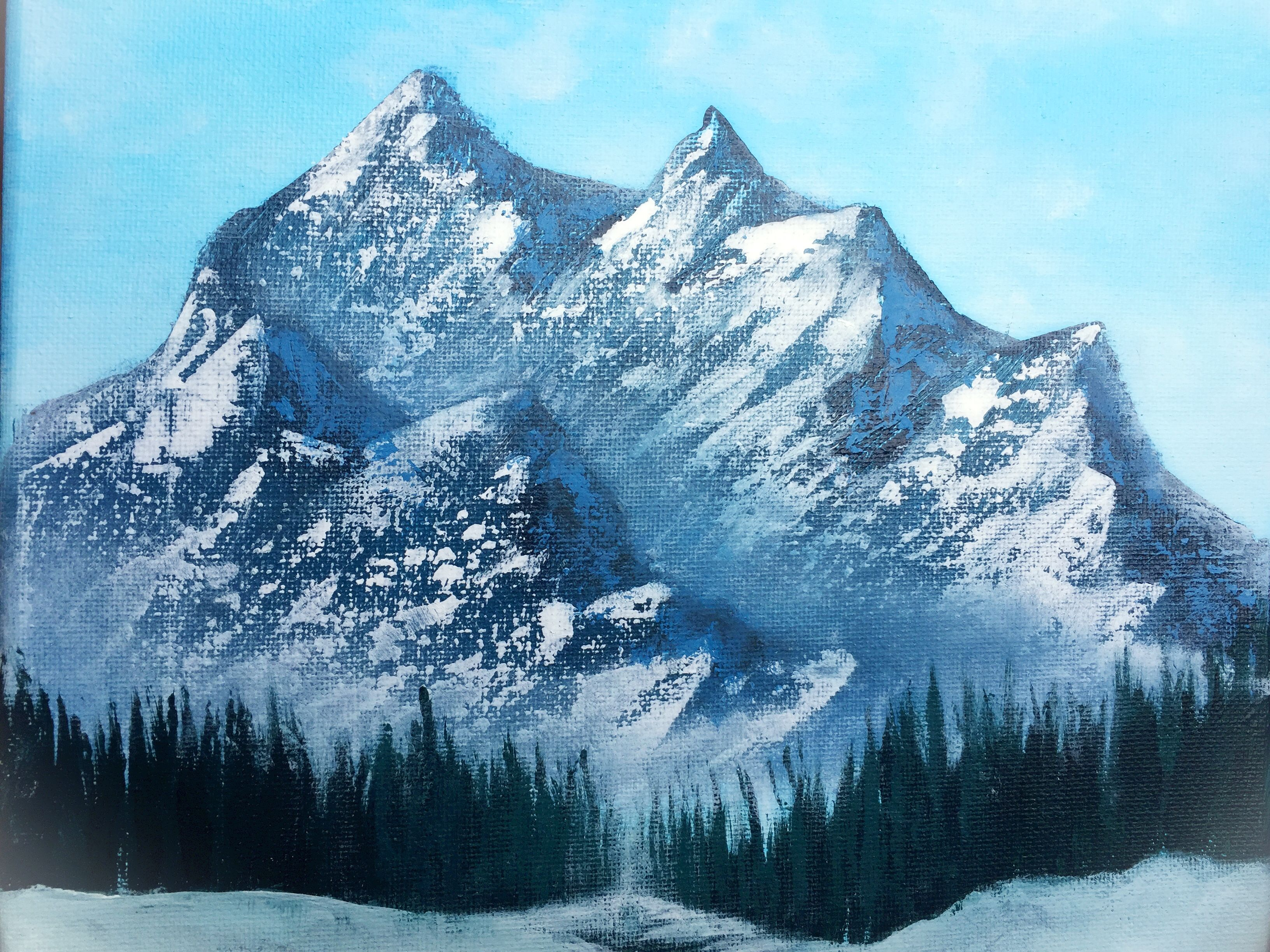Misty Mountain Painting Mountain Paintings Mountain Painting Acrylic Oil Painting Trees