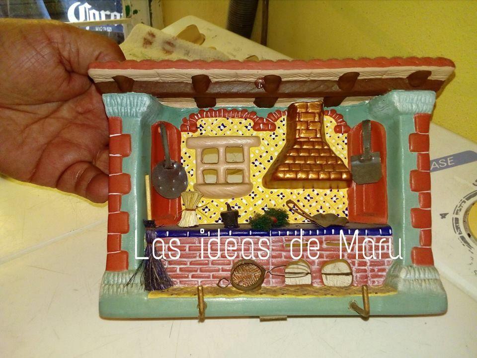 Cocinita de cer mica y sus detalles en miniatura a la cual for Utensilios de cocina de ceramica