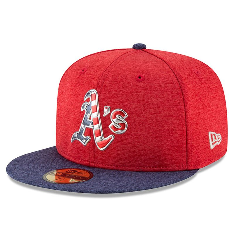 buy online 5bbb2 9eadd Oakland Athletics New Era 2017 Stars   Stripes 59FIFTY Fitted Hat -  Heathered Red Heathered Navy